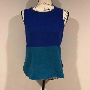 41Hawthorn Blue Green Colorblock Sleeveless Blouse